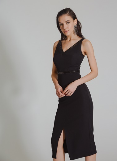 People By Fabrika Payetli Elbise Siyah